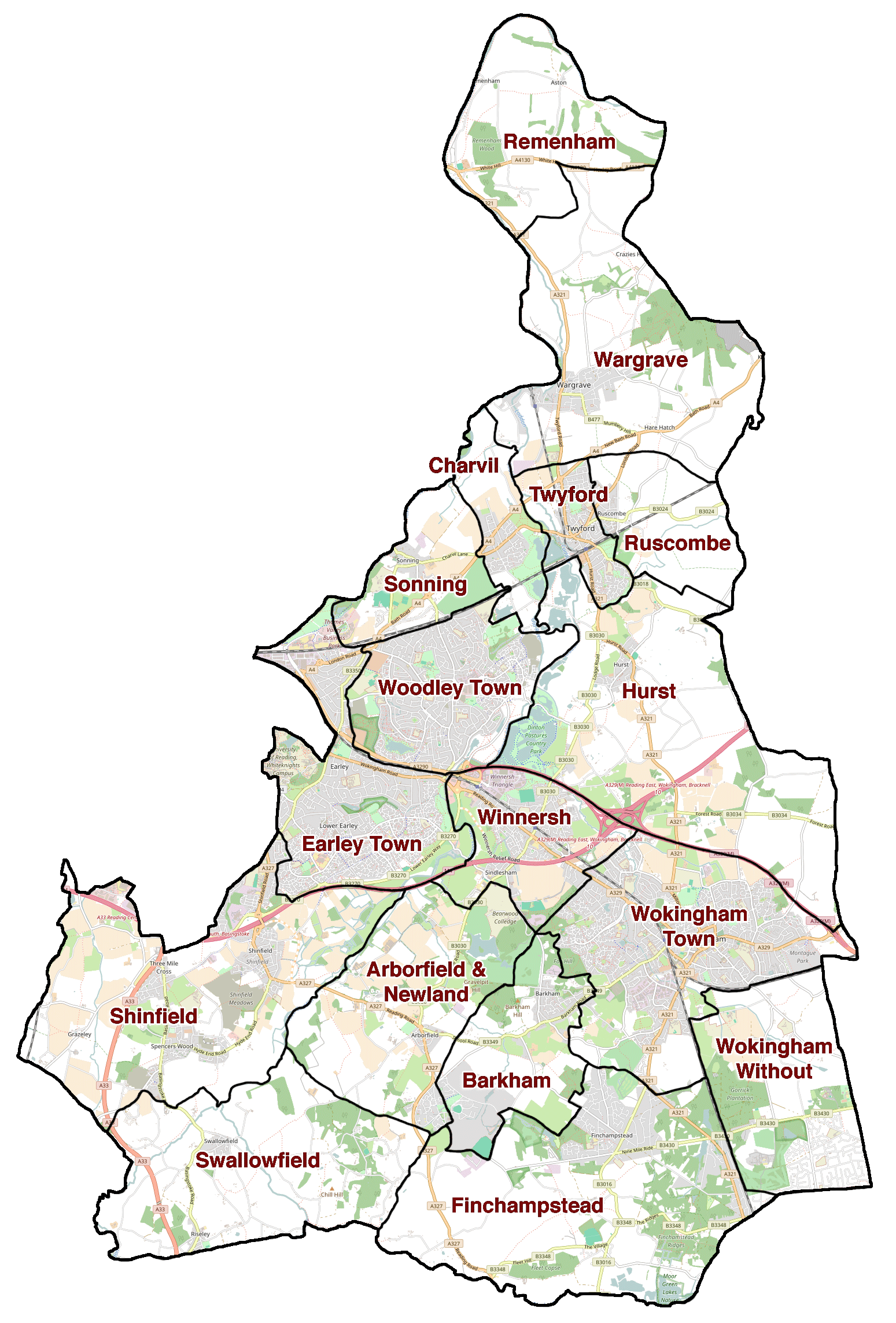 Wokingham parish boundaries